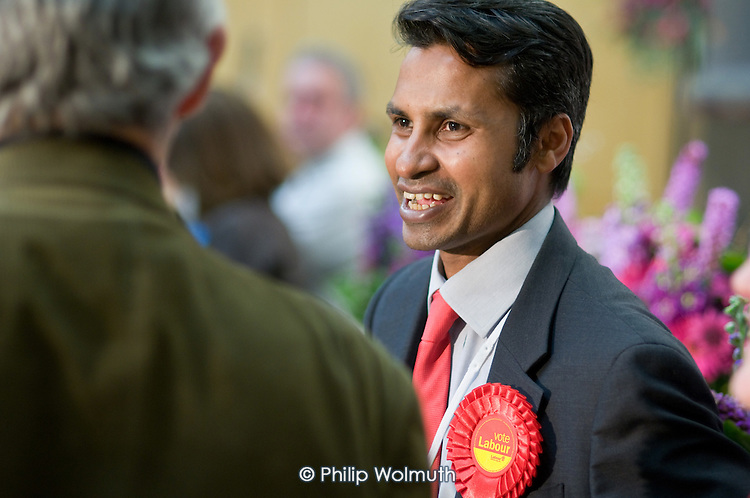 Nasim Ali, leader of the Labour Group, talks with supporters as Labour defeats the ruling Lib-Dem Conservative coalition in the Camden Council local elections 2010.