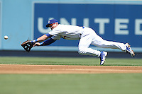 08/26/12 Los Angeles, CA: Los Angeles Dodgers second baseman Nick Punto #7 during an MLB game played between the Los Angeles Dodgers and the Miami Marlins at Dodger Stadium. The Marlins Defeated the Dodgers 6-2