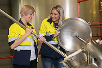 Two Birds Brewery of Australia owners Jayne Lewis (left) and Danielle Allen at Everards Brewery in Leicester, England