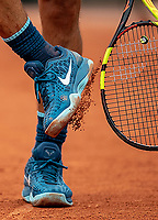 Detail of Rafael Nadal's (ESP) shoes during his match with Simone Bolelli (ITA).  French Open Tennis Championships, Roland Garros, Paris, France 28th May 2017.