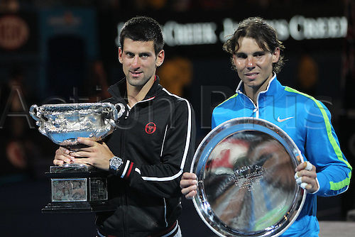 29 01 2012  Rafael Nadal ESP and Novak Djokovic Srb with their trophies After the mens Final of 2012 Tennis Australian Open in Melbourne . Djokovic edged a gripping battle with Nadal  5-7 6-4 6-2 6-7 (5-7) 7-5 in five hours 53 minutes to win his fifth Grand Slam.