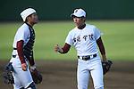 (L to R) <br /> Yasuhito Uchida, <br /> Harumi Iida (Joso Gakuin), <br /> SEPTEMBER 29, 2013 - Baseball : <br /> The 68th National Sports Festival <br /> between Osaka Toin 7-5 Joso Gakuin <br /> at Hachioji Municipal Baseball Stadium, Tokyo, Japan. <br /> (Photo by YUTAKA/AFLO SPORT)