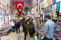 Young women tourists shopping in The Grand Bazaar, Kapalicarsi, great market, Beyazi, Istanbul, Republic of Turkey