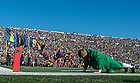 Oct 11, 2014; The Leprechaun does pushups after an Irish TD. (Photo by Matt Cashore)
