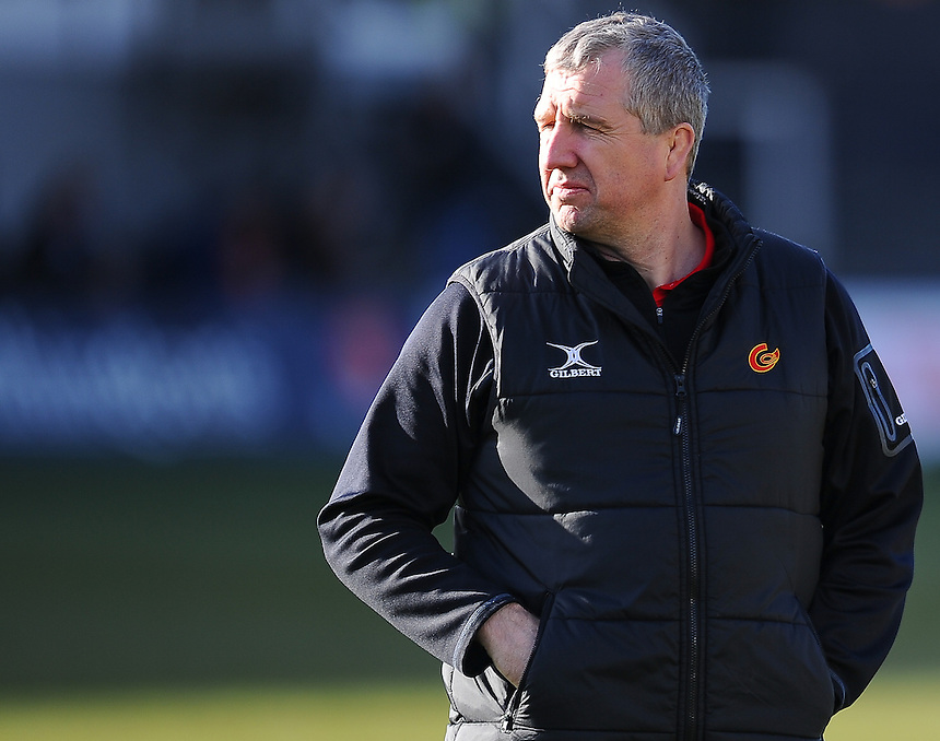 Newport Gwent Dragons' Director of Rugby Lyn Jones during the pre match warm up<br /> <br /> Photographer Craig Thomas/CameraSport<br /> <br /> Rugby Union - European Rugby Challenge Cup Pool 3 - Newport Gwent Dragons v Exeter Chiefs - Sunday 1st February  2015 - Rodney Parade - Newport <br /> <br /> &copy; CameraSport - 43 Linden Ave. Countesthorpe. Leicester. England. LE8 5PG - Tel: +44 (0) 116 277 4147 - admin@camerasport.com - www.camerasport.com