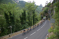 peloton lead by Team SKY passing under 1 of the rock tunnels of the Gorges du Tarn <br /> <br /> stage 14: Rodez - Mende (178km)<br /> 2015 Tour de France