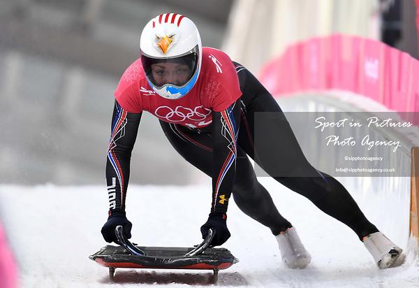 Katie Uhlaender (USA). Womens skeleton training. Pyeongchang2018 winter Olympics. Alpensia sliding centre. Alpensia. Gangneung. Republic of Korea. 12/02/2018. ~ MANDATORY CREDIT Garry Bowden/SIPPA - NO UNAUTHORISED USE - +44 7837 394578