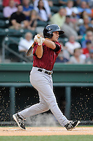 Right fielder Patrick Biondi (11) of the Savannah Sand Gnats in a game against the Greenville Drive on Thursday, June 19, 2014, at Fluor Field at the West End in Greenville, South Carolina. Savannah won, 6-3. (Tom Priddy/Four Seam Images)