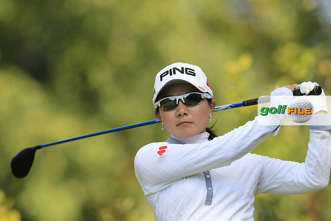 Ayako Uehara (JPN) tees off the 3rd tee during Friday's Round 2 of the LPGA 2015 Evian Championship, held at the Evian Resort Golf Club, Evian les Bains, France. 11th September 2015.<br /> Picture Eoin Clarke | Golffile