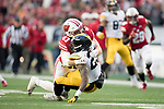Wisconsin Badgers linebacker Shane Connelly (43) makes a tackle during an NCAA College Big Ten Conference football game against the Iowa Hawkeyes Saturday, November 11, 2017, in Madison, Wis. The Badgers won 38-14. (Photo by David Stluka)