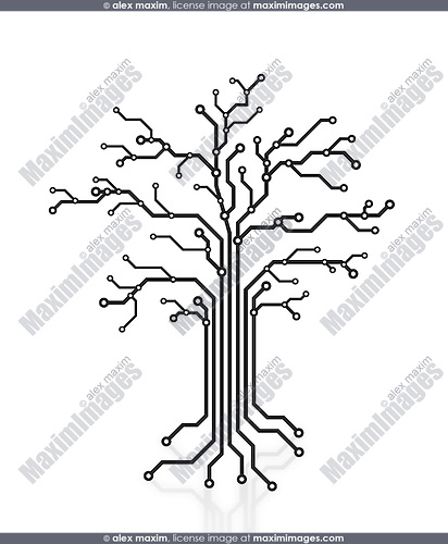 Digital tree made of circuits, conceptual illustration isolated on white background