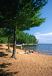Sand beach at Sebago Lake State Park, Naples, Maine, USA