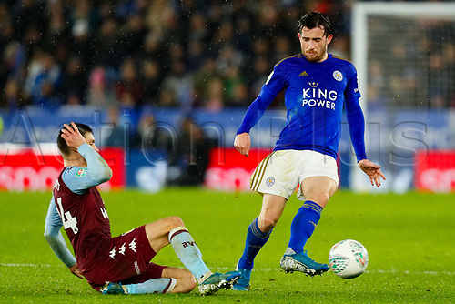 8th January 2020; King Power Stadium, Leicester, Midlands, England; English Football League Cup Football, Carabao Cup, Leicester City versus Aston Villa; Ben Chilwell of Leicester City evades Frederic Guilbert of Aston Villa - Strictly Editorial Use Only. No use with unauthorized audio, video, data, fixture lists, club/league logos or 'live' services. Online in-match use limited to 120 images, no video emulation. No use in betting, games or single club/league/player publications