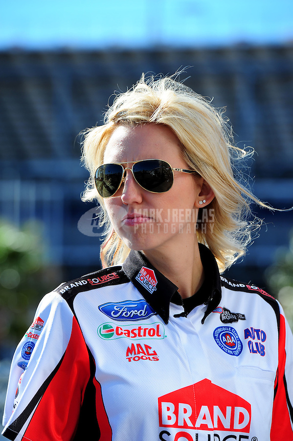 Apr. 4, 2011; Las Vegas, NV, USA: NHRA funny car driver Courtney Force during testing at The Strip in Las Vegas. Mandatory Credit: Mark J. Rebilas-