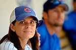 3 July 2005: Mia Hamm, US and International soccer star and wife of Cubs' shortstop Nomar Garciaparra ,waits in the Chicago Cubs dugout prior to her tribute day at Wrigley Field where the Cubs hosted the Washington Nationals. The Nationals defeated the Cubs 5-4 to sweep the 3-game series in front of 40,006 at Wrigley Field in Chicago, IL. Mandatory Photo Credit: Ed Wolfstein