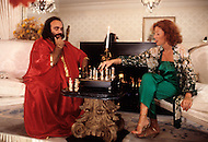 Beverlly Hills, Los Angeles, California - October 13th, 1979. This photograph was taken in Demis Roussos's and Domanique's house in Beverly Hills. Demis Roussos (born June 15, 1946) is a Greek singer and performer who had a string of international hit records. He has sold over 60 million albums worldwide.