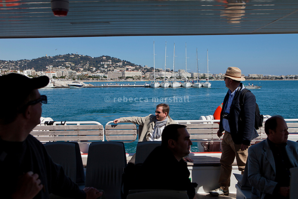 On board the ferry back to Cannes from Ile Saint Honorat, France, 3 April 2013. Cannes seafront can be seen in the background.