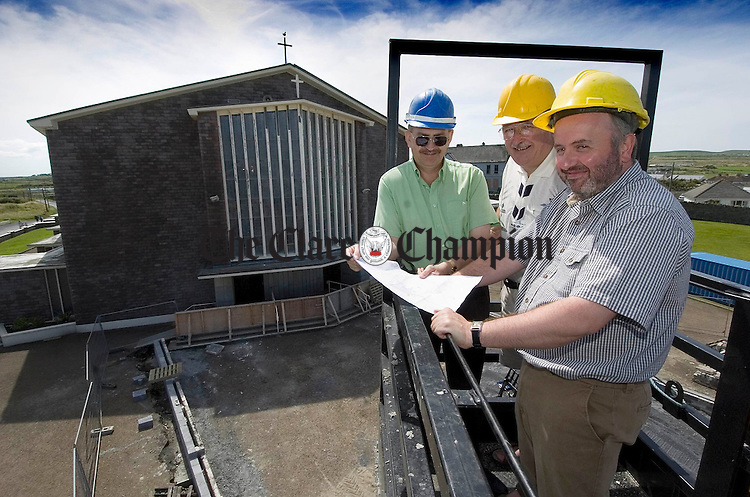 Looking on at  the work done to date at the Immaculate Conception and St Senan's church in Kilkee were Shay Hynes, treasurer of the pastoral council and Sean O Broin, chairman  with Fr. Donagh O Meara, P.P. Kilkee. Photograph by John Kelly.