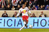 Thierry Henry (14) of the New York Red Bulls takes a shot. The New York Red Bulls defeated the Chicago Fire 5-2 during a Major League Soccer (MLS) match at Red Bull Arena in Harrison, NJ, on October 27, 2013.