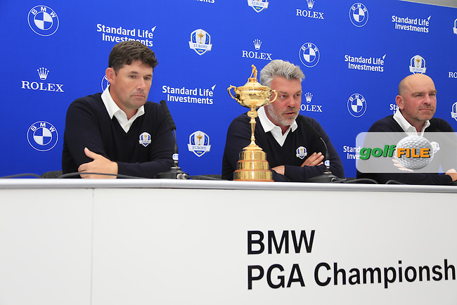 Darren Clarke Captain at the announcement of the Ryder cup vice captains press conference with Paul Lawrie, Padraig Harrington and Thomas Bjorn during  round 2 of the 2016 BMW PGA Championship. Wentworth Golf Club, Virginia Water, Surrey, UK. 27/05/2016.<br /> Picture Fran Caffrey / Golffile.ie<br /> <br /> All photo usage must carry mandatory copyright credit (&copy; Golffile | Fran Caffrey)