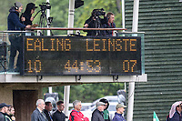 The scoreboard at half time in the British & Irish Cup Final match between Ealing Trailfinders and Leinster Rugby at Castle Bar, West Ealing, England  on 12 May 2018. Photo by David Horn / PRiME Media Images.