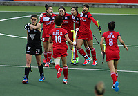 Korea celebrate a goal during the World Hockey League match between New Zealand and Korea. North Harbour Hockey Stadium, Auckland, New Zealand. Saturday 18 November 2017. Photo:Simon Watts / www.bwmedia.co.nz