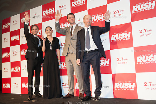 January 30, 2014 : Tokyo, Japan - Miki Ando, Chris Hemsworth, Daniel Bruhl, and Ron Howard appear at the Japan Premiere for RUSH by Ron Howard in the Yurakucho Marion, Tokyo, Japan. (Photo by Yumeto Yamazaki/NipponNews)