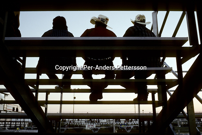 Unidentified Rodeo fans watch a Rodeo on July 13, 1998 in Brownsville, Texas, USA. They are attended a yearly rodeo held at a local stadium. Rodeo is one of the most popular pastimes in this area. (Photo by: Per-Anders Pettersson)