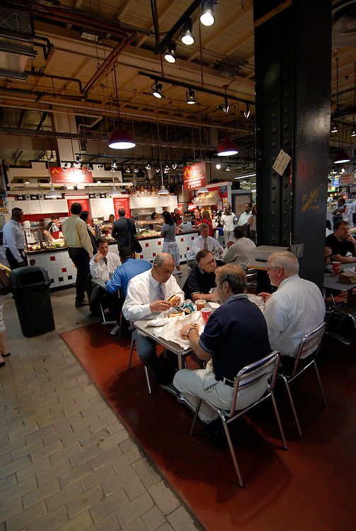 Reading Terminal Market, people dining..Philadelphia, Pennsylvania, PA USA.  Photo copyright Lee Foster, 510-549-2202, lee@fostertravel.com, www.fostertravel.com.  Photo 231-30523