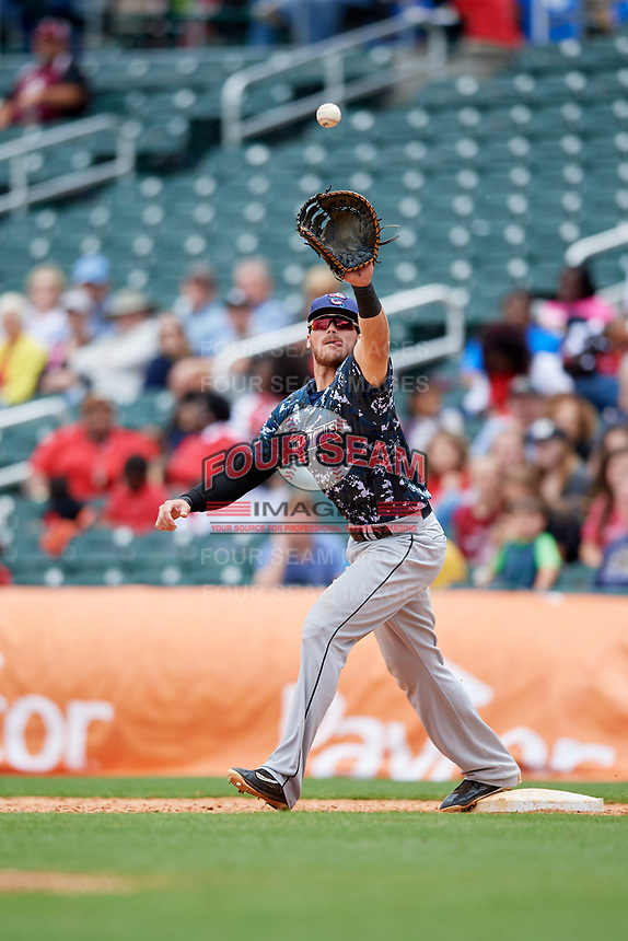 Jacksonville Jumbo Shrimp first baseman Taylor Ard (32) stretches to receive a throw during a game against the Birmingham Barons on April 24, 2017 at Regions Field in Birmingham, Alabama.  Jacksonville defeated Birmingham 4-1.  (Mike Janes/Four Seam Images)