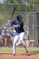 San Diego Padres shortstop Hudson Potts (10) at bat during an Instructional League game against the Milwaukee Brewers on September 27, 2017 at Peoria Sports Complex in Peoria, Arizona. (Zachary Lucy/Four Seam Images)
