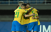 PEREIRA - COLOMBIA, 22-01-2020: Jugadores de Brasil celebran después de anotar el primer gol de su equipo durante partido entre Brasil y Uruguay por la fecha 2, grupo B, del CONMEBOL Preolímpico Colombia 2020 jugado en el estadio Hernan Ramirez Villegas en Pereira, Colombia. /  Players of Brazil celebrate after scoring the first goal of their team during the match between Brazil and Uruguay for the date 2, group B, for the CONMEBOL Pre-Olympic Tournament Colombia 2020 played at Hernan Ramirez Villegas stadium in Pereira, Colombia. Photo: VizzorImage / Julian Medina / Cont
