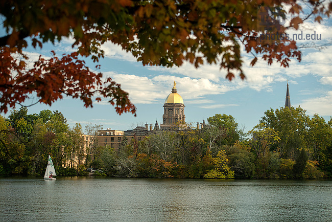 Sept 25, 2014; Main Building and Golden Dome from St. Joseph Lake.  (Photo by Barbara Johnston/University of Notre Dame)