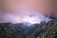 870000071 a fire spotter aircraft and fire retardant dropping helicopter fly over an uncotrolled major wildfire in the hills above chatsworth in los angeles county california