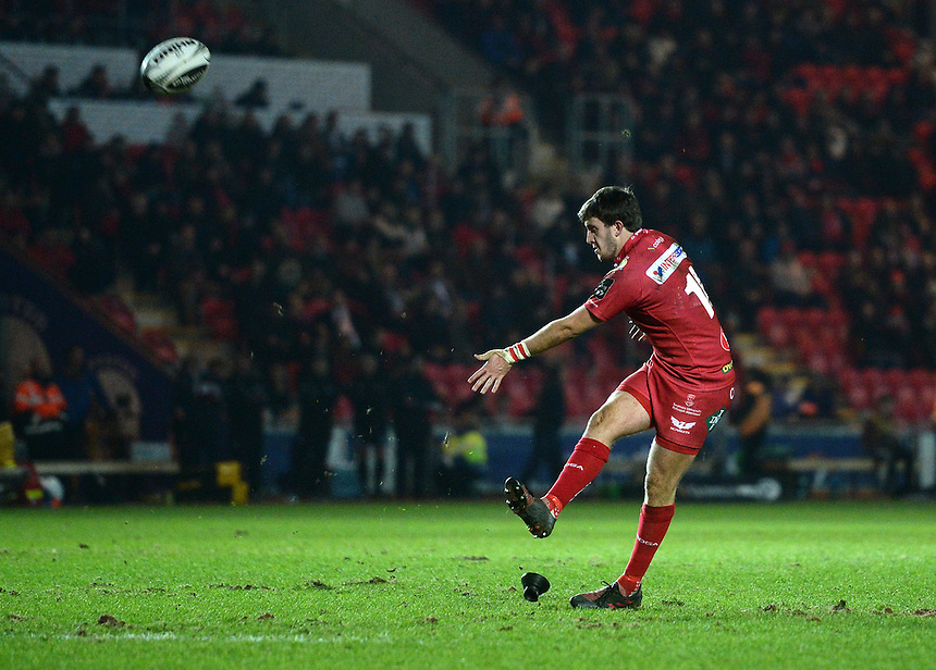 Scarlets' Dan Jones converts his sides 3rd try<br /> <br /> Photographer Ian Cook/CameraSport<br /> <br /> Guinness PRO12 Round 15 - Scarlets v Zebre - Friday 17th February 2017 - Parc y Scarlets - Llanelli, Wales<br /> <br /> World Copyright &copy; 2017 CameraSport. All rights reserved. 43 Linden Ave. Countesthorpe. Leicester. England. LE8 5PG - Tel: +44 (0) 116 277 4147 - admin@camerasport.com - www.camerasport.com