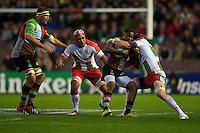 Ugo Monye of Harlequins is tackled during the Heineken Cup match between Harlequins and Biarritz Olympique Pays Basque at the Twickenham Stoop on Saturday 13th October 2012 (Photo by Rob Munro)