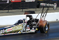 Jul. 26, 2014; Sonoma, CA, USA; NHRA top fuel driver Brittany Force during qualifying for the Sonoma Nationals at Sonoma Raceway. Mandatory Credit: Mark J. Rebilas-