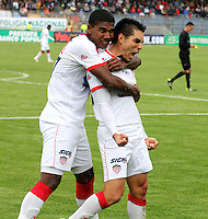 PASTO -COLOMBIA, 26-OCTUBRE-2014. Jorge Aguirre del Atletico Junior celebra su gol contra el Deportivo Pasto  partido de la fecha 16 de la Liga Postobon II 2014 jugado en el estadio Libertad de la ciudad de Pasto./ Jorge Aguirre player   of  Atletico Junior celebrates his goal agaisnt Deportivo Pasto  during match valid for the 16th date of Postobon League II 2014 played at Libertad stadium in Pasto city. Photo: VizzorImage  / Leonardo Castro / Stringer