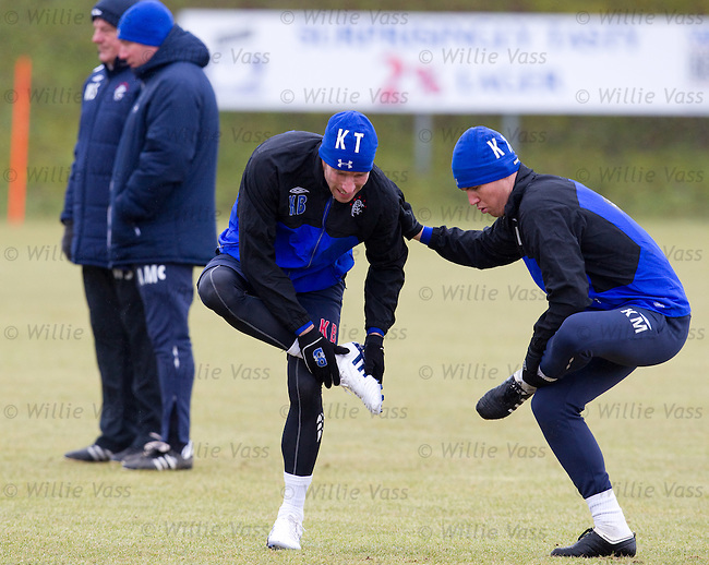 Kirk Broadfoot and Kenny Miller at training with Walter Smith and Ally McCoist