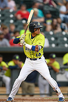 Shortstop Edgardo Fermin (10) of the Columbia Fireflies bats in a game against the Greenville Drive on Friday, May 25, 2018, at Spirit Communications Park in Columbia, South Carolina. Columbia won, 3-1. (Tom Priddy/Four Seam Images)