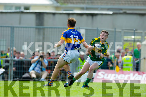 Stephen O'Sullivan, Kerry in Action against Shane Power, Tipperary in the Munster Minor Football Final at Fitzgerald Stadium on Sunday.