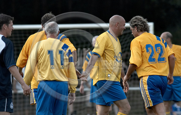 "BERLIN - GERMANY 14. JUNE 2006 -- Football match in Hohen Neuendorf - A friendship match between the swedish national team from 1974 and Berlins Hertha BSC traditions team. Result: 1-5 - Roland Sandberg (11) and Stefan Anderson (22) (both SWE) -- PHOTO: CHRISTIAN T. JOERGENSEN /  EUP & IMAGES..This image is delivered according to terms set out in ""Terms - Prices & Terms"". (Please see www.eup-images.com for more details)"