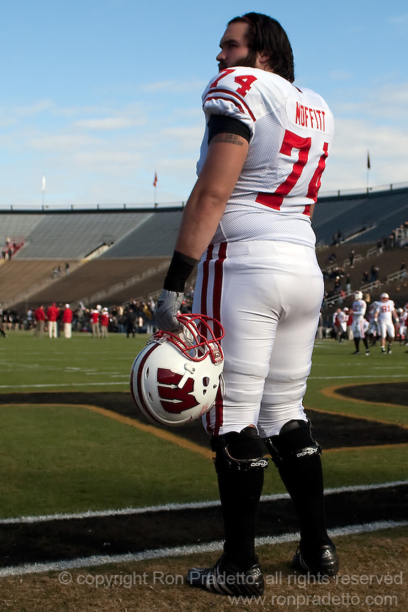 Wisconsin guard John Moffitt. The Wisconsin Badgers defeated the Purdue Boilermakers 34-13 at Ross-Ade Stadium, West Lafayette, Indiana on November 6, 2010.