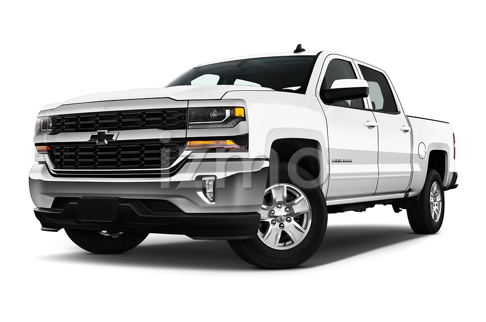 Stock pictures of low aggressive front three quarter view of 2018 Chevrolet Silverado-1500 LT-Crew 4 Door Pick-up Low Aggressive
