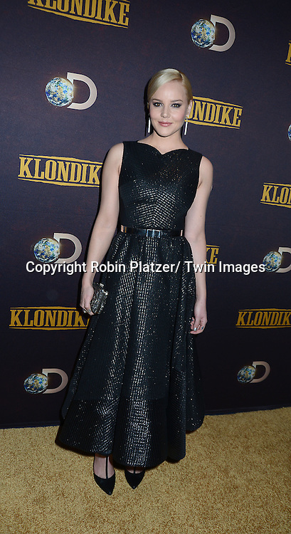 "Abbie Cornish attends the premiere of Discovery Channel's first scripted series  "" Klondike"" on January 16, 2014 at Best Buy Theater in New York City. The series will run on January 20, 21 and 22, 2014."
