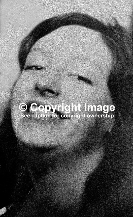 Anne Marie Pettigrew, Westrock Drive, Belfast, N Ireland, who died 1st September 1973, from 80% burns almost two weeks after an explosion in an IRA bomb making factory in the University area of the city. A fellow IRA member, Francis Hall, also died in the incident. 197309010577.<br />
