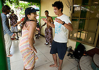 Tourists enjoy a traditional Garifuna dance lesson in Orinoco, Nicaragua in April, 2009. Orinoco is home to the largest Garifuna population in Nicaragua and offers lessons and tours in their small community.
