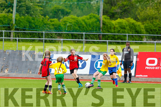 Action from Killarney Celtic v Camp Utd in the U12 Girls soccer final in Mounthawk Park on Saturday.