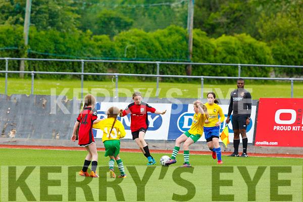 Action from Killarney Celtic v Camp Utd in the U12 Girls soccer final in Mounthawk Park on Saturday.