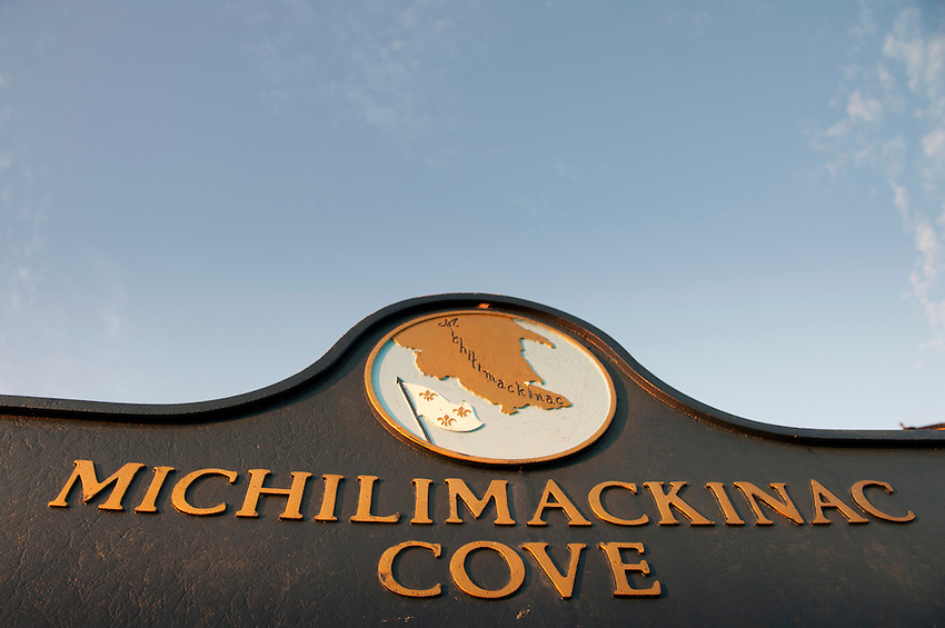 Historical marker at Michilimackinac Cove in St. Ignace Michigan.